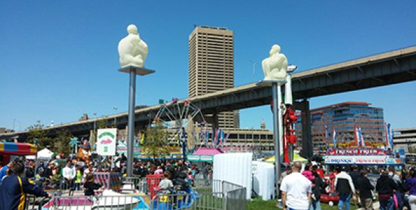 Carnival at Canalside Buffalo with Jaume Plensa's Silent Poets