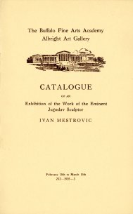 Cover of Catalogue of an Exhibition of the Work of the Eminent Jugoslav Sculptor Ivan Mestrovic