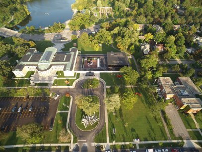 Aerial view of the Albright-Knox's campus