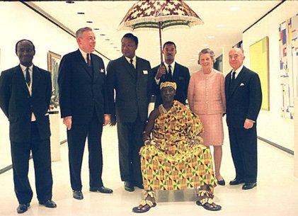 Gordon M. Smith and Seymour H. Knox, Jr., with Ebenezer Moses Debrah, the ambassador from Ghana to the United States, and Nana Kwaku Dua, the Agogohene of Ashanti Akim, the traditional King of Ghana.