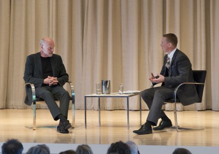 Anselm Kiefer in conversation with Peggy Pierce Elfvin Director Janne Sirén on stage in the Albright-Knox's Auditorium