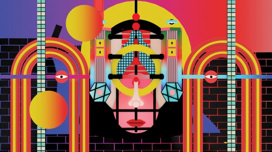 An animation with an abstract face, floating eyes, and rainbow-like arches
