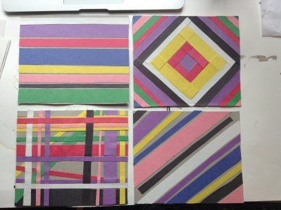 Four artworks featuring different colored stripes