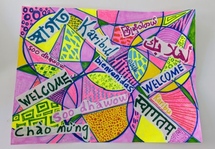 A colorful drawing with shapes and words in different languages