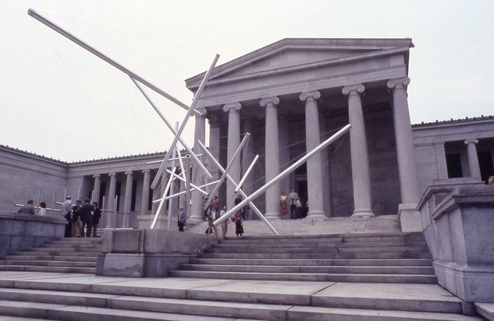 Visitors at the Members' Preview for Kenneth Snelson on September 11, 1981