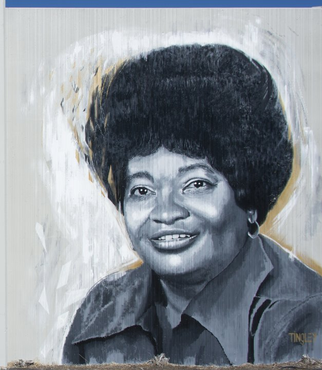 Chuck Tingley's portrait of Minnie Gillette for The Freedom Wall, 2017
