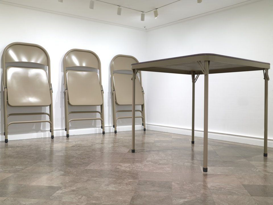 No title (folding table and chairs, beige)