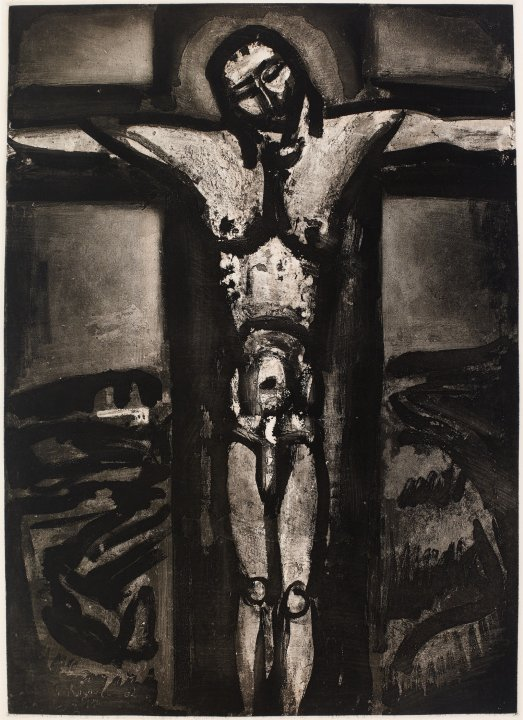 Sous un Jésus en croix oublié là (Beneath a forgotten crucifix) from the portfolio Miserere (Have Mercy)