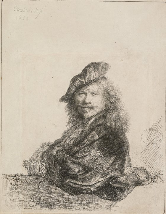 Rembrandt Leaning on a Stone Still