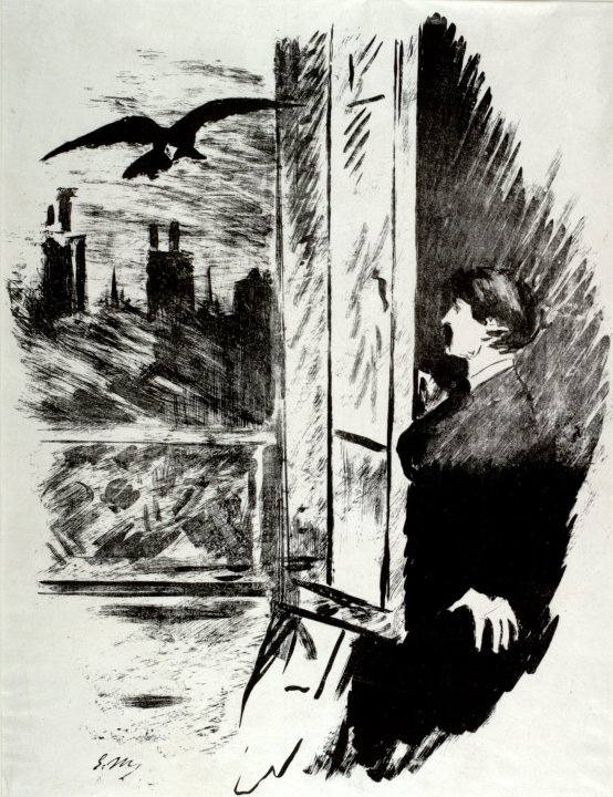 "At the window (""Open here I flung the shutter..."") from The Raven (Le Corbeau)"