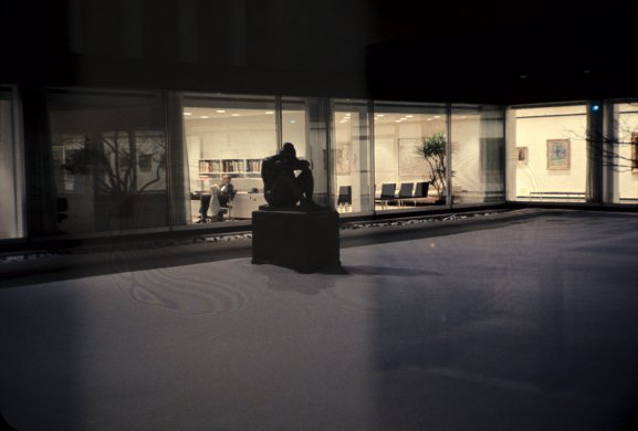 Maillol's La Nuit photographed during the Centennial Ball on January 20, 1962, in the museum's Sculpture Garden.