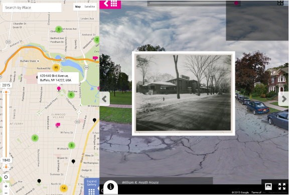 Screenshot of the William Heath House on the Albright-Knox Art Gallery's Historypin channel