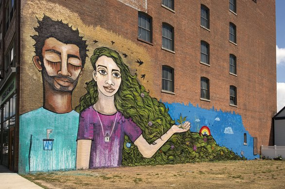 Alice Mizrachi's Dream Keepers, 2016, on the side of Buffalo Center for Arts and Technology