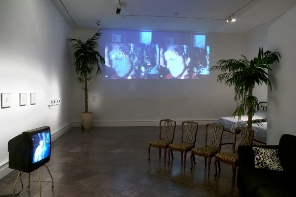 Installation view of Tony Conrad's Come To, 1979, in Wish You Were Here: The Buffalo Avant-garde in the 1970s
