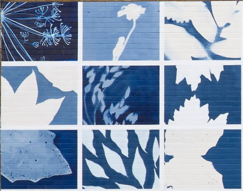 Detail from Hillary Waters Fayle's Botanical Blueprint at 244 Dewitt Street in Buffalo