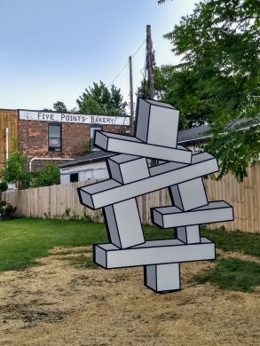 Aakash Nihalani's Balancing Act II, 2018, installed at Five Points Bakery in Buffalo