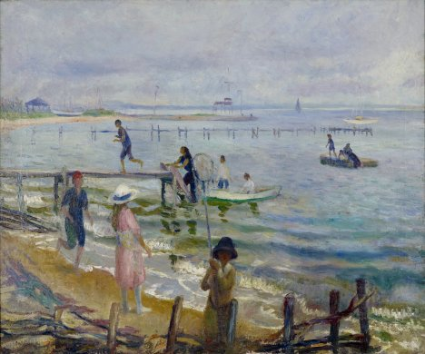 The thin sliver of beach in the bottom left corner of this horizontally oriented canvas features a loosely painted scene of multiple Caucasian figures dressed for a summer's outing. Two thin wooden piers extend horizontally into the ocean, filling most of bottom two-thirds of the canvas. A couple sailboats dot the horizon and a third boat is pulling up to the pier in the foreground. The sky filling the upper third of the canvas is light blue with lilac tinged clouds reflecting in the water below.