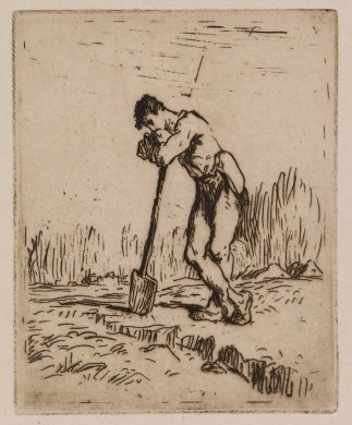Man Leaning on a Spade