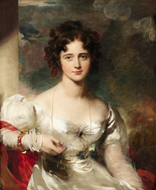 The young woman who is the subject of this portrait is show seated and from the waist up. She looks directly at the viewer and a small smile plays over her red lips. Brown ringlets softly frame her face and are elaborated pinned at the top of her head. She wears a white silky dress, cut low around her shoulders, as well as a long golden chain necklace and a golden bracelet set with a red gem on her right wrist.