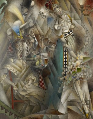 Abstract geometric shapes largely in dappled shades of gray and brown coalesce to form patrons seated around a café table at left and the dancer who appears to be moving toward the right edge of the canvas. The dancer and the seated patron closest to the foreground are the most clearly defined. The dancer wears a long dress with a striking cerulean skirt and carries a bouquet of flowers in her right hand; the patron's dress is trimmed with delicate passages of lace at the sleeves and around the bust.