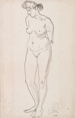 Nude Study (Woman Standing with Head in Profile)