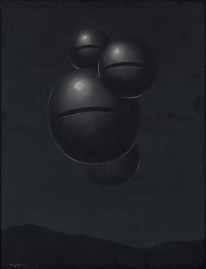 Four dark gray spheres of varying sizes, grouped tightly together, float in a dark gray sky above the black silhouettes of mountains. White circular highlights on the top halves of three of the spheres suggest a distant light source. The spheres appear to be made of metal, and the smooth surface of each sphere is only interrupted by a deep black cut along its equator.