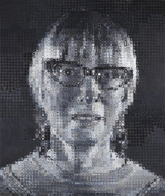 This large-scale portrait is painted in grayscale with a nearly all black background. A grid pattern covers the entire surface, and diamonds, ovals, circles, and other geometric shapes fill each square. From a distance, these patterned coalesce into a woman's face and upper shoulders; the effect is similar to a pixelated photograph. The woman has short hair, cat-eyed glasses, dangly earrings, and she wears a shirt with a rounded collar.