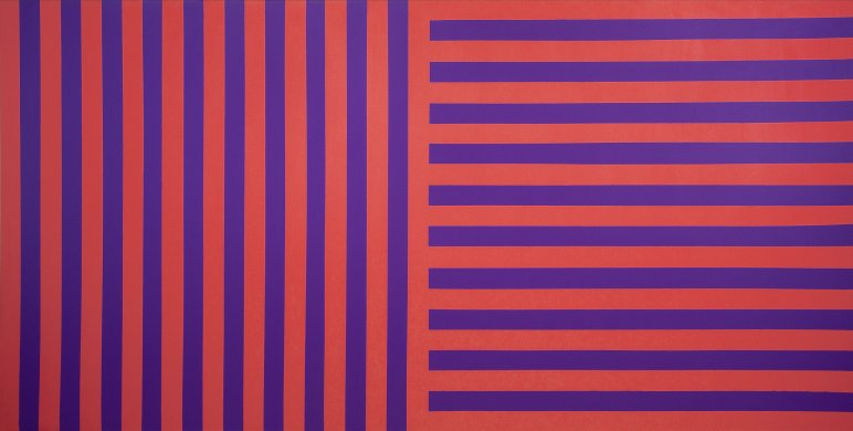 This large, horizontally oriented abstract painting is visually divided into two square portions. On the left, alternating red and purple stripes of the same width span the height of the canvas. On the right, stripes of the same color and size run horizontally from the right edge to the painting's overall center. The lines formed by the stripes are very straight and even.