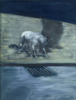 A muscular white dog on a chain leash and the lower legs of its owner are visible beneath a dark blue trapezoid that fills the upper quarter of this vertically oriented canvas. The pair stand on sidewalk abutting a stretch of road perforated by a storm drain. The dog's head and tail are lowered, and its front two legs extended as if caught in the moment springing forward. The artist's palette of black, beige, and grey conveys a dark and tense atmosphere.