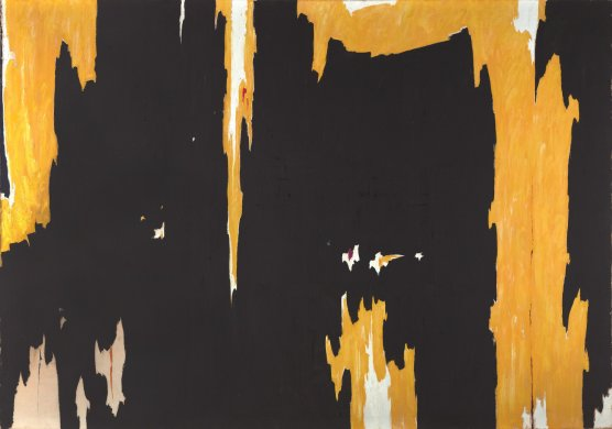 Yellow, jagged-edged forms tear through portions of this mostly matte black canvas. The largest of these forms runs the full height of the painting near its right edge. Each of the yellow streaks includes small areas of white, which most appear in the center of the form, flanked by larger areas of yellow. Three small patches of unpainted canvas are visible near the bottom-left corner.