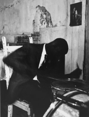 Untitled (Buffalo, drummer) from the series Storefront Churches, 1958-1961