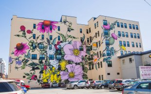 A large building with colorful flowers painted on it