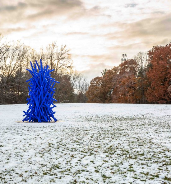 A sculpture made up of blue poles standing tall like a tree in the middle of a snowy field, with bare trees and trees with red leaves in the background
