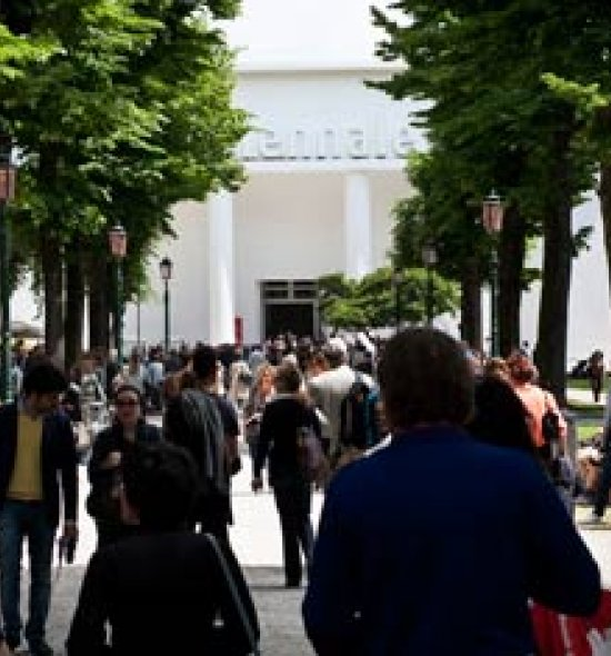 Guests in the Giardini at the Venice Biennale