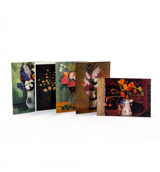 Five notecards featuring floral works from the collection