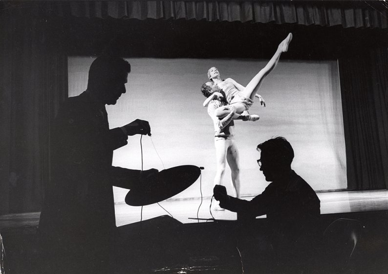 Merce Cunningham Dance Company performance of Paired (1964) with dancers Merce Cunningham and Viola Farber on Monday, March 1, 1965, during the Buffalo Festival of the Arts Today (February 27–March 13, 1965) at Upton Hall, State University of New York Col