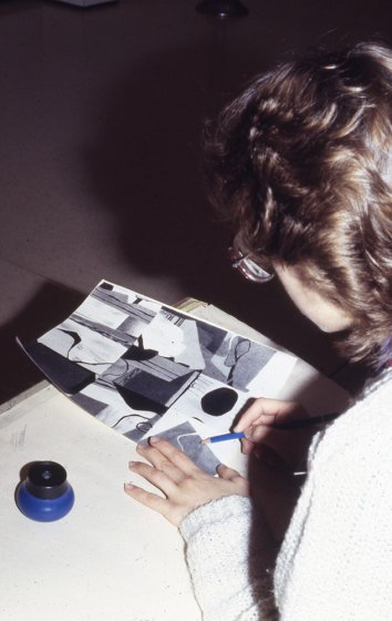 Student artist at the Albright-Knox as part of an Advanced Placement Drawing Class, ca. 1982–84