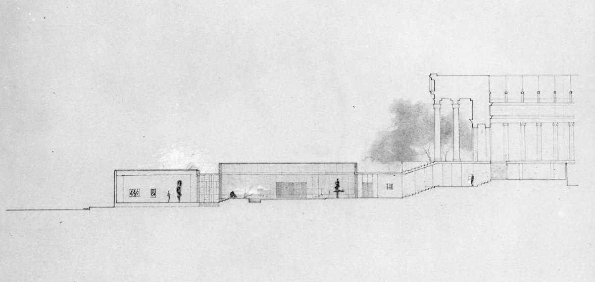 Plans for Paul Schweikher's proposed addition to the Albright Art Gallery, 1957