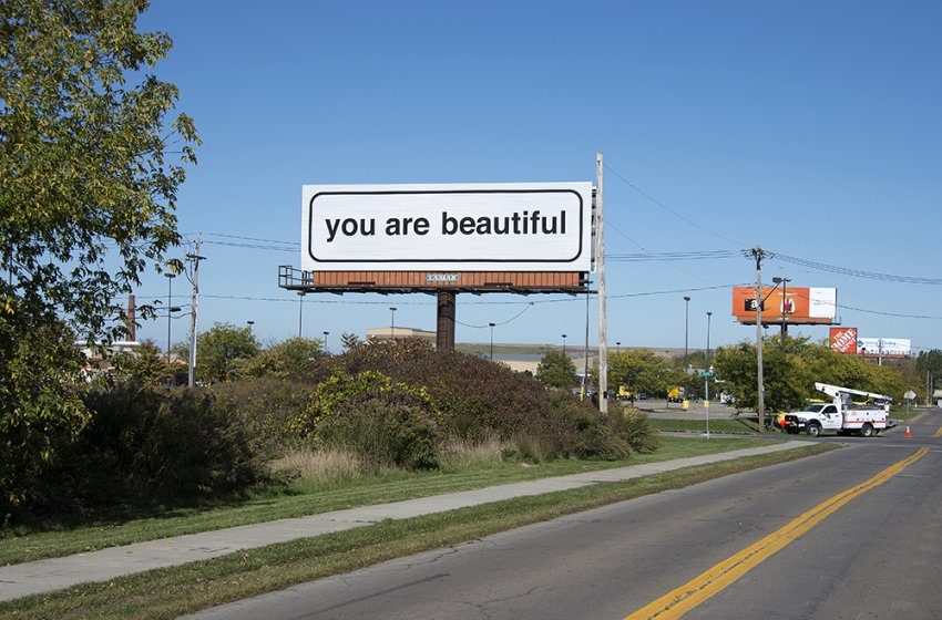 Matthew Hoffman's You Are Beautiful billboard at Gerard and Builders Way