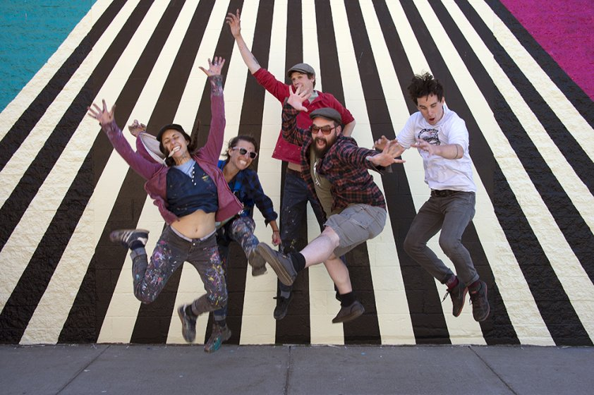 Jessie and Katey (left) with Albright-Knox Art Preparators Jeff Vincent, Matthew Myers, and Max Collins after completing Noodle in the Northern Lights, 2016