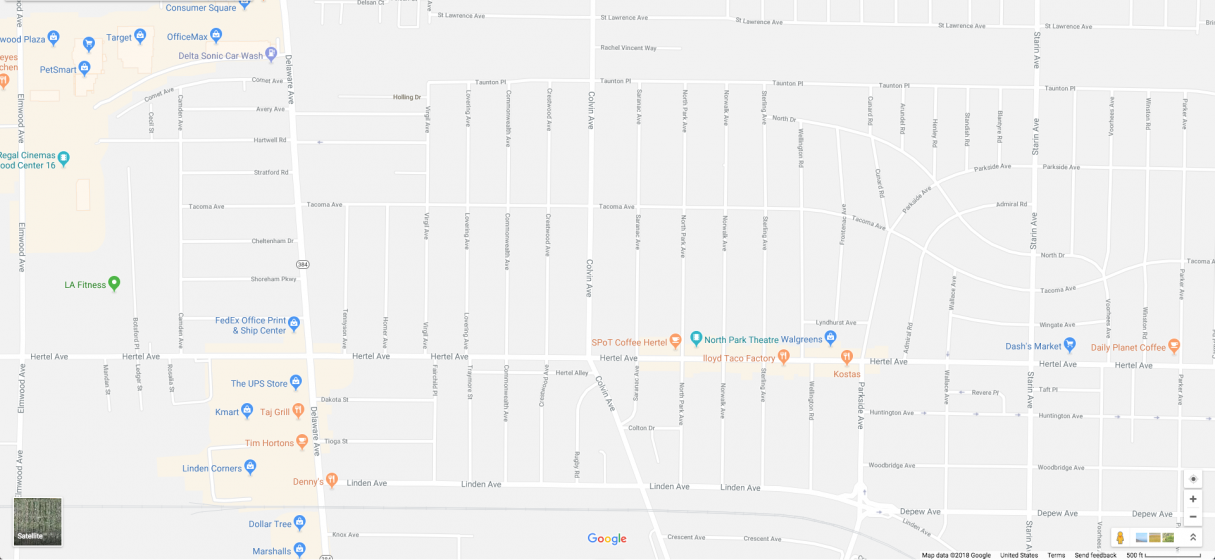 Map of the area around We Are Here. The mural is located at 1260 Hertel Avenue, near the corner of Commonwealth Avenue.